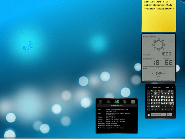Example of KDE widgets on Desktop