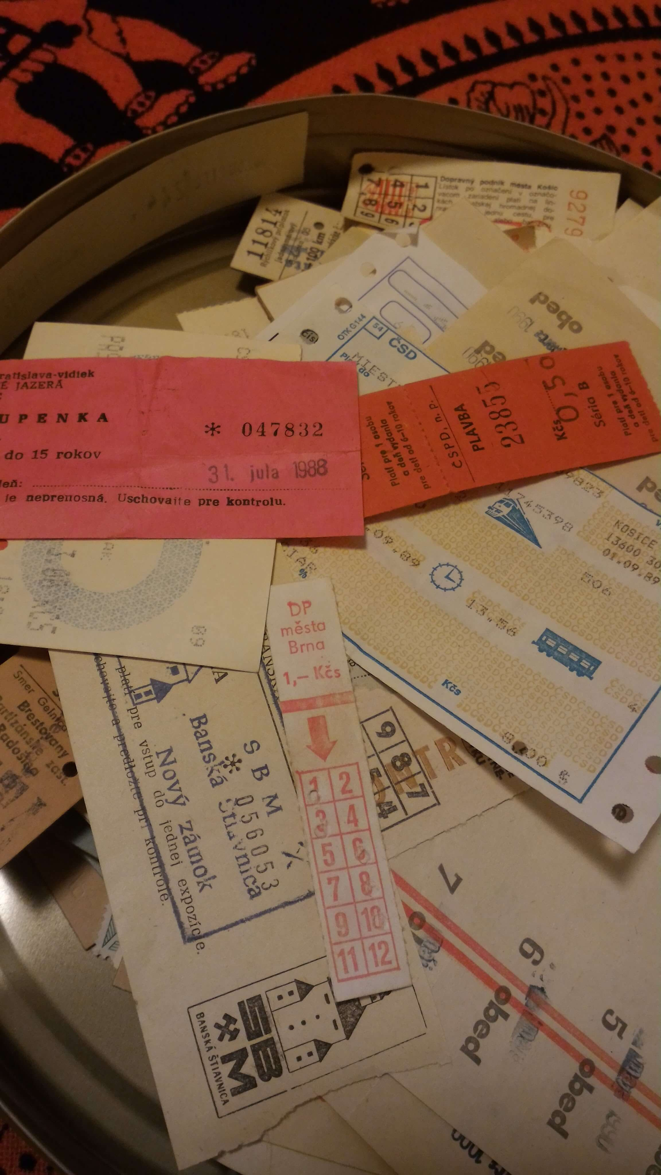 Assorted old tickets from Czechoslovakia (retro)
