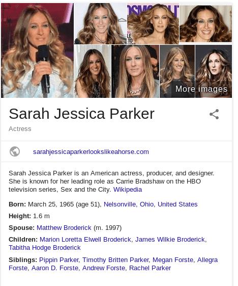 Google bombing 2016 - Saraha Jessica Parker Horse