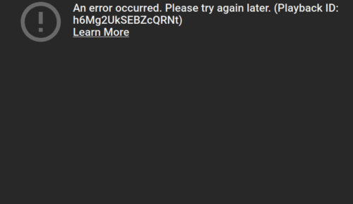"uBlock: YouTube - ""An error occured. Please try again later"""